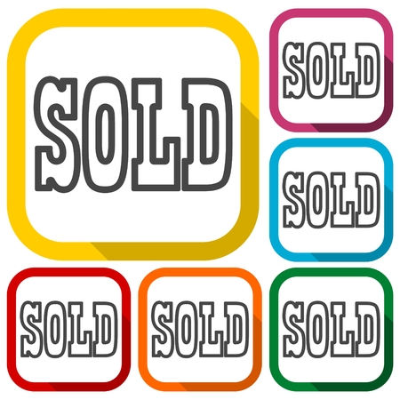 sold sign: Sold Sign, icons set with long shadow