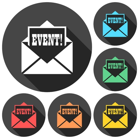 Event letter icons set with long shadow