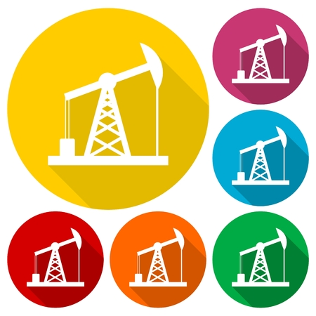 fracking: Oil Rig Icon, Oil pump jack icons set with long shadow