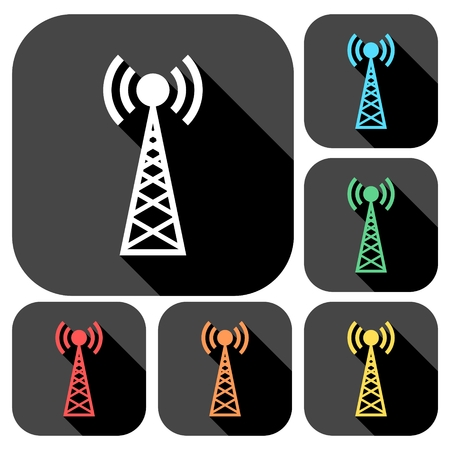cell phone transmitter tower: Transmitter simple icons set with long shadow