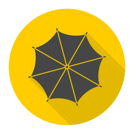 brolly: Umbrella icon with long shadow