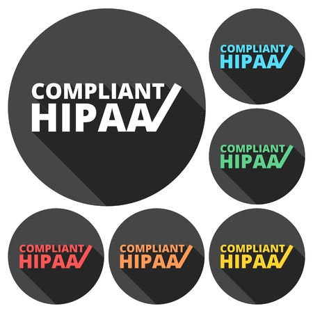 confidentiality: HIPAA - Health Insurance Portability and Accountability Act icons set with long shadow Illustration