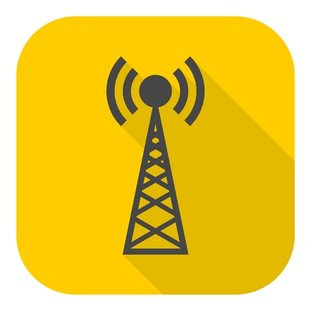 cell tower: Transmitter simple icon with long shadow