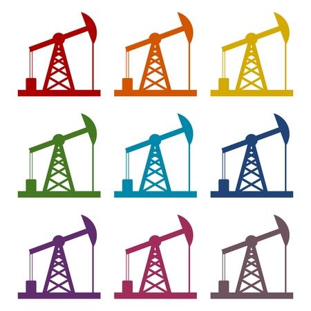 fracking: Oil Rig Icon, Oil pump jack icons set Illustration