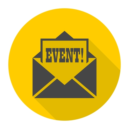 Event letter icon with long shadow Illustration