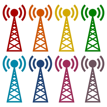 cell phone transmitter tower: Transmitter simple icons set