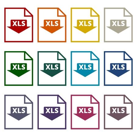 file format: The XLS icon, File format symbol set