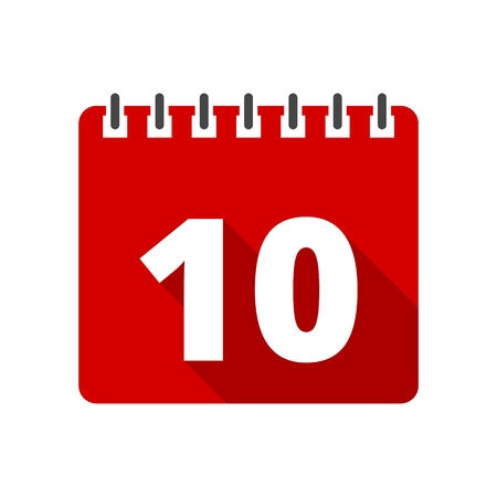 number 10: Calendar icon with long shadow - number 10