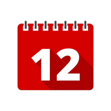 number 12: Calendar icon with long shadow - number 12