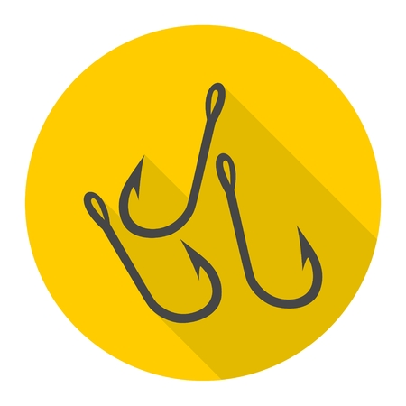 Fishing Hooks vector icon with long shadow Illustration