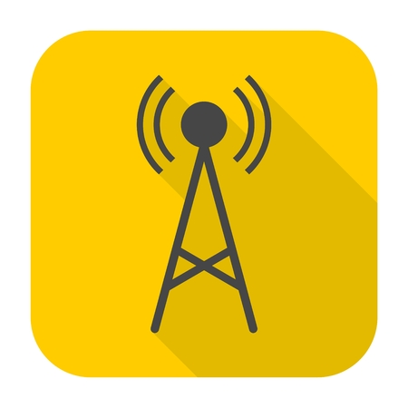 transmitter: Transmitter simple icon with long shadow