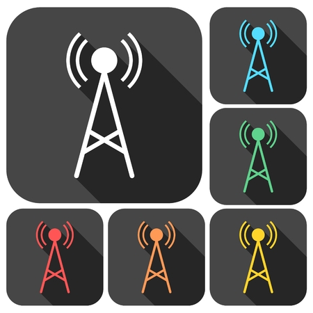 transmitter: Transmitter simple icons set with long shadow