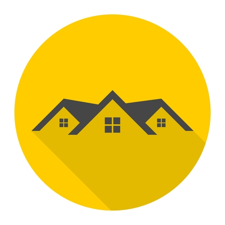 Home roof icon with long shadow