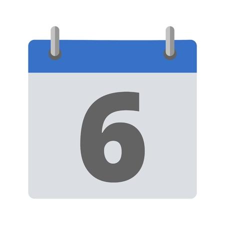 number 6: Calendar icon - number 6 Illustration