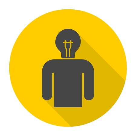 mind set: Idea head, Pictograph of bulb concept icon with long shadow Illustration