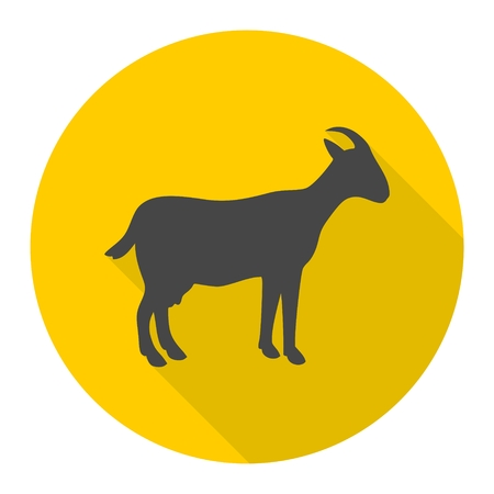 Goat icon with long shadow