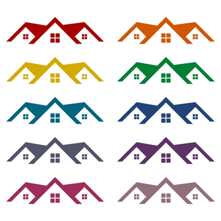 Home roof icons set