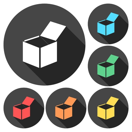 Open box icons set with long shadow Illustration