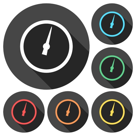 manometer: Pressure gauge - Manometer icons set with long shadow