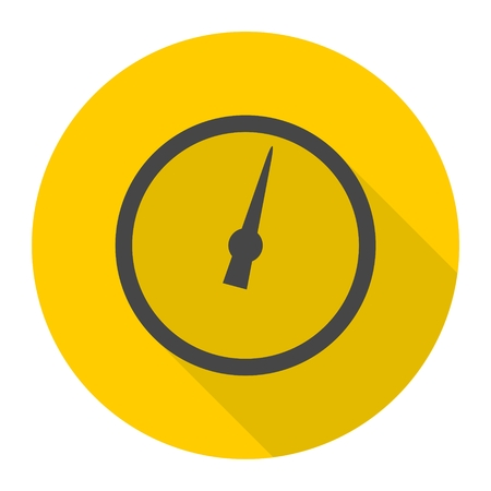 manometer: Pressure gauge - Manometer icon with long shadow