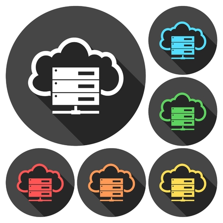 remote backup service: Hosting server icons set with long shadow