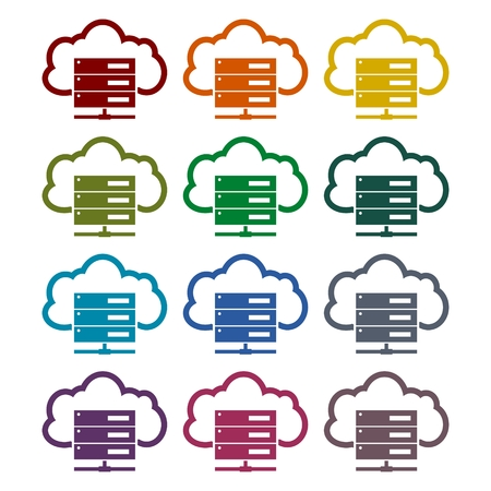Hosting server icons set