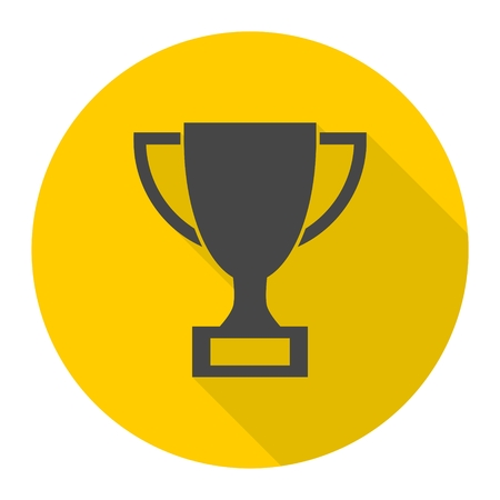 Trophy sign icon with long shadow Illustration