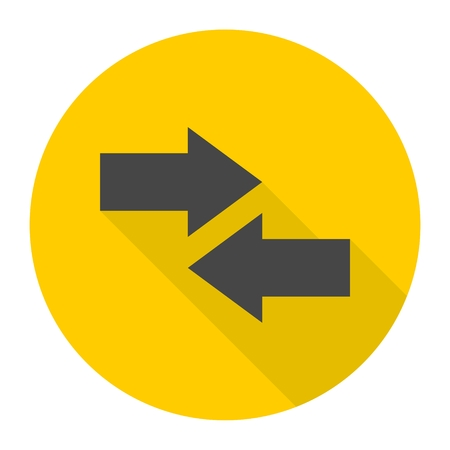 Right Left arrow sign icon with long shadow