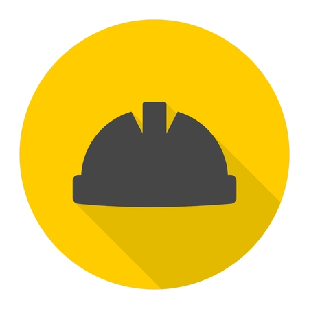 Safety worker hardhat icon with long shadow