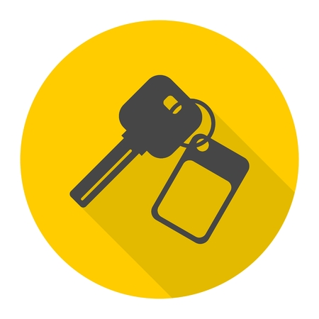 Auto keys sign icon with long shadow