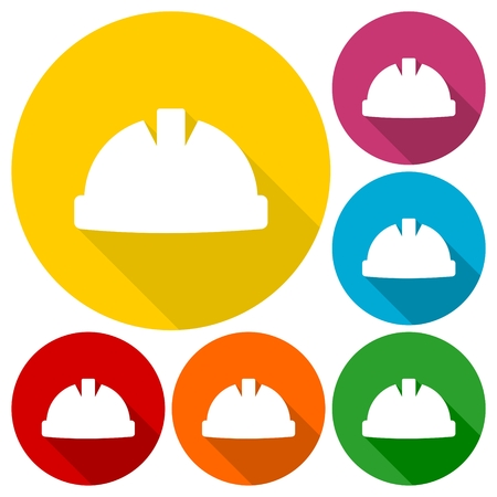 hardhat: Safety worker hardhat icons set with long shadow