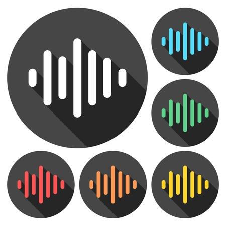 analyzer: Audio wave icons set with long shadow