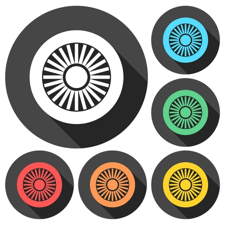 jet engine: Jet engine icons set with long shadow