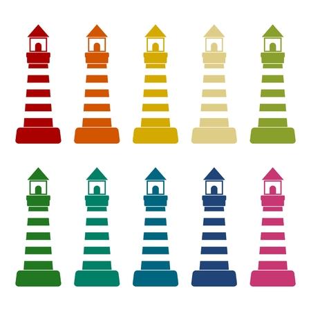leading light: Lighthouse icons set
