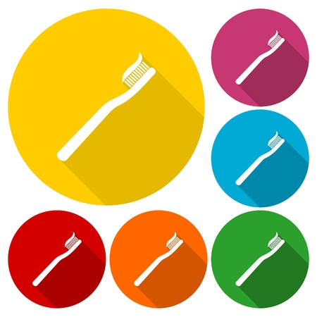 toothbrush: Toothbrush icons set with long shadow