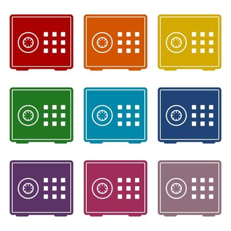 bank safe: Bank safe box icons set Illustration