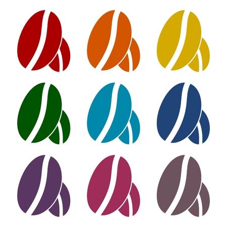 Ziarna kawy zestaw ikon Ilustracje wektorowe