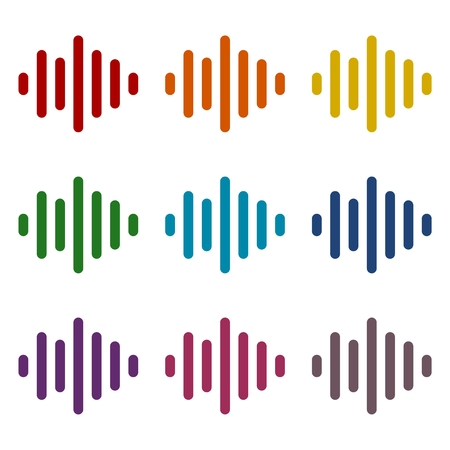 analyzer: Audio wave icons set Illustration