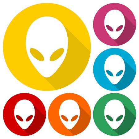 martians: Alien head icons set with long shadow