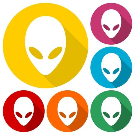 Iconos de la cabeza extranjera se establece con la larga sombra Ilustración de vector