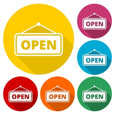 doorhandle: Open sign icons set with long shadow Illustration