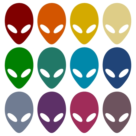 martians: Alien head icons set