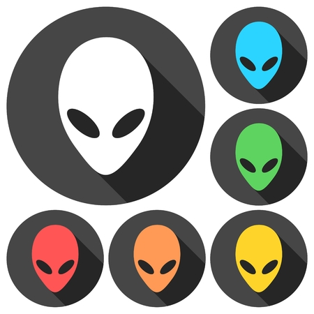 lifeform: Alien head icons set with long shadow