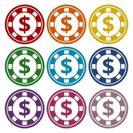 chip set: Casino chip icons set Illustration