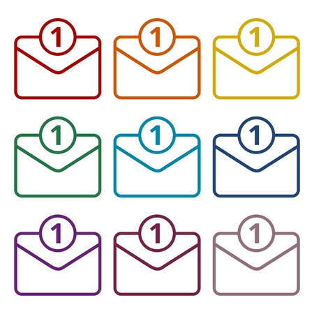 reply all: Unread mail icons set Illustration