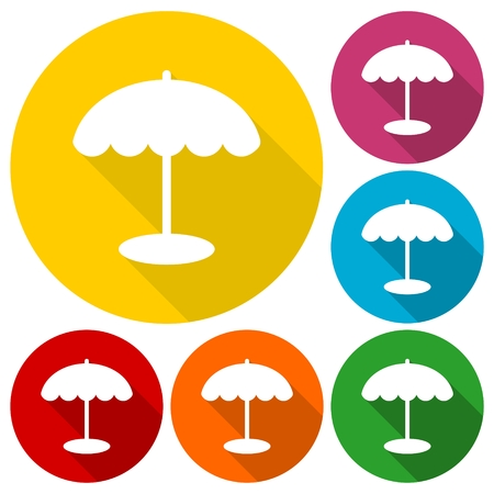 reclining: Parasol icons set with long shadow