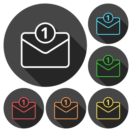 reply all: Unread mail icons set with long shadow Illustration