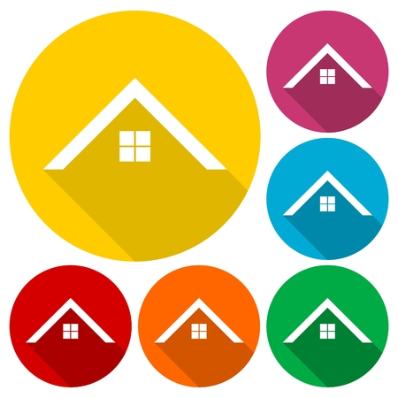Home roof icons set with long shadow