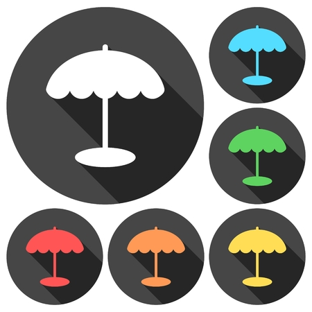 Parasol icons set with long shadow