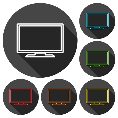 crt: Tv Icons set with long shadow Illustration